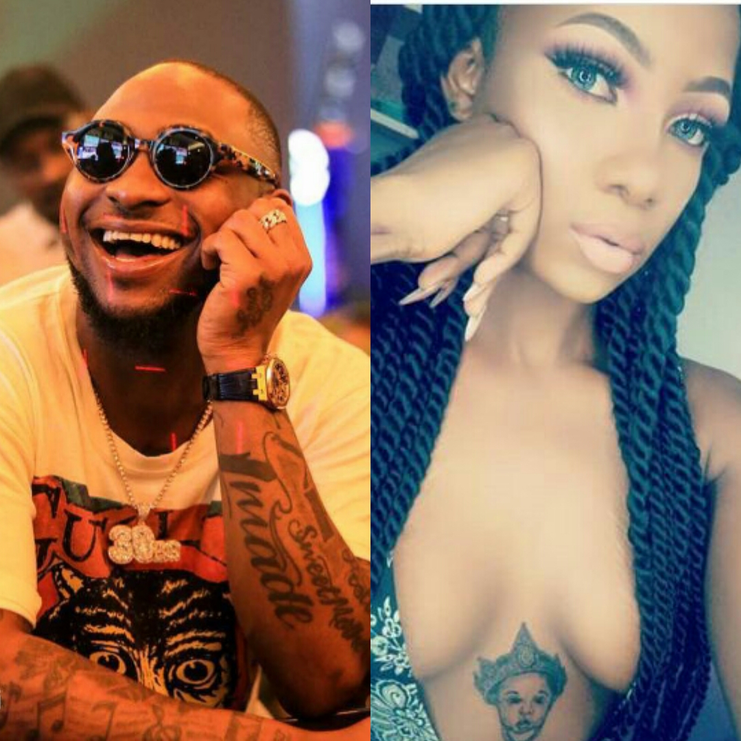 Davido fan who tattooed OBO on her chest blasts critics as he follows her on IG