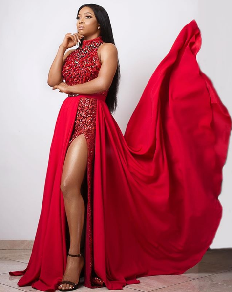 Toke Makinwa dazzles in red for