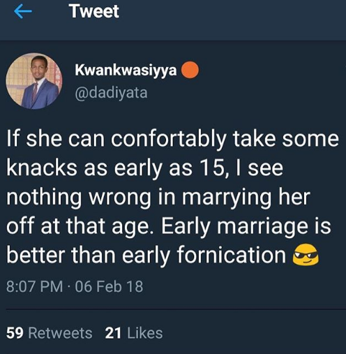 If She Can Take Some Knacks As Early As 15, There Is Nothing Wrong In Marrying Her -Twitter User