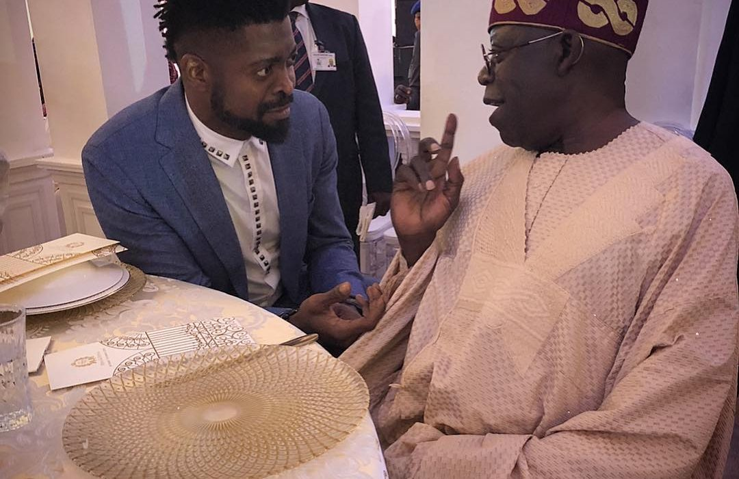Basmetmouth's hilarious caption on photo with Tinubu