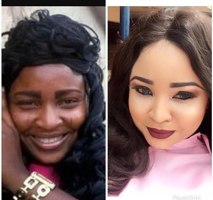 Actress Abimbola before and after bleaching transformation