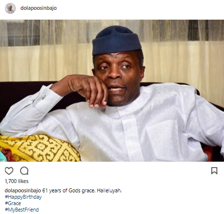 Dolapo Osinbajo takes to IG celebrate her husband VP Yemi Osinbajo