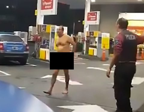 Naked man with sex toy stuck up his backside screams for help at filling station