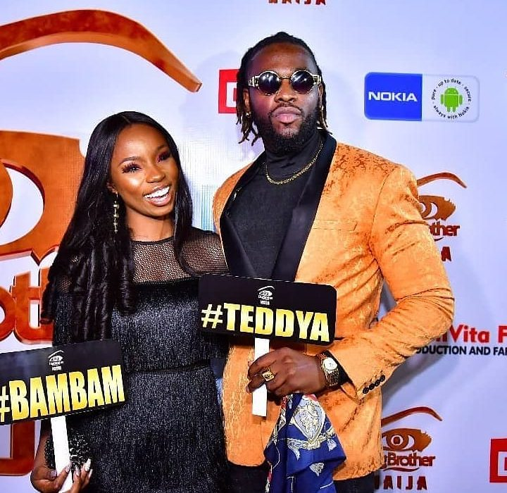 #BBNaija Teddy A and Bam Bam attend homecoming party in style