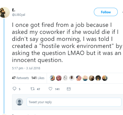 US-based Nigerian lady fired for asking her co-worker this question