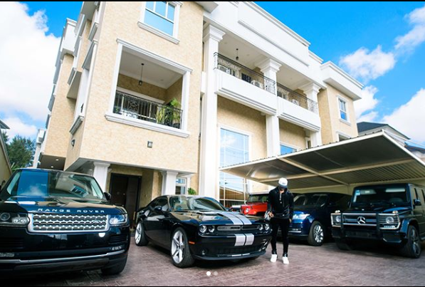 Peter Okoye flaunts mansion,car fleet