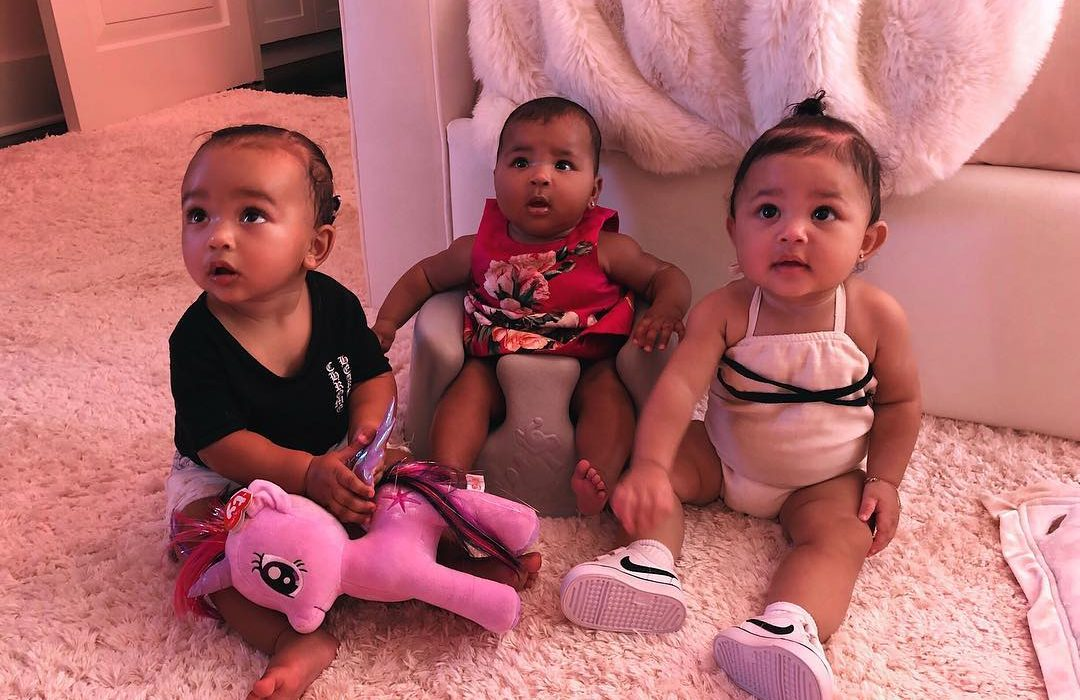 Chicago West,Stormi Webster and True Thompson pose together