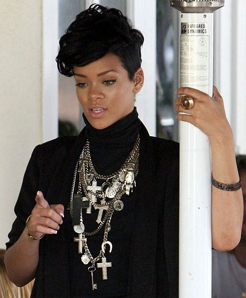 Rihanna rocking a crucifix
