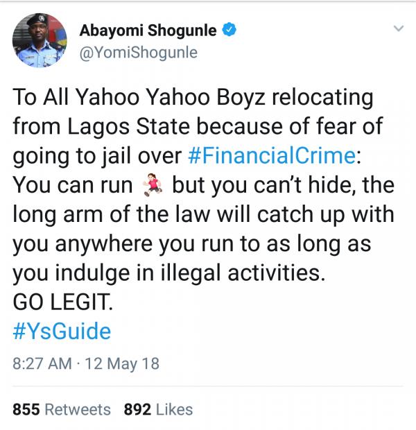 Lagos ACP,Yomi Shogunles message to Yahoo Boys fleeing