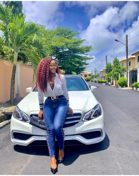 BBNaija's CeeC Steps Out In Style As She Poses With Her Mercedes Benz